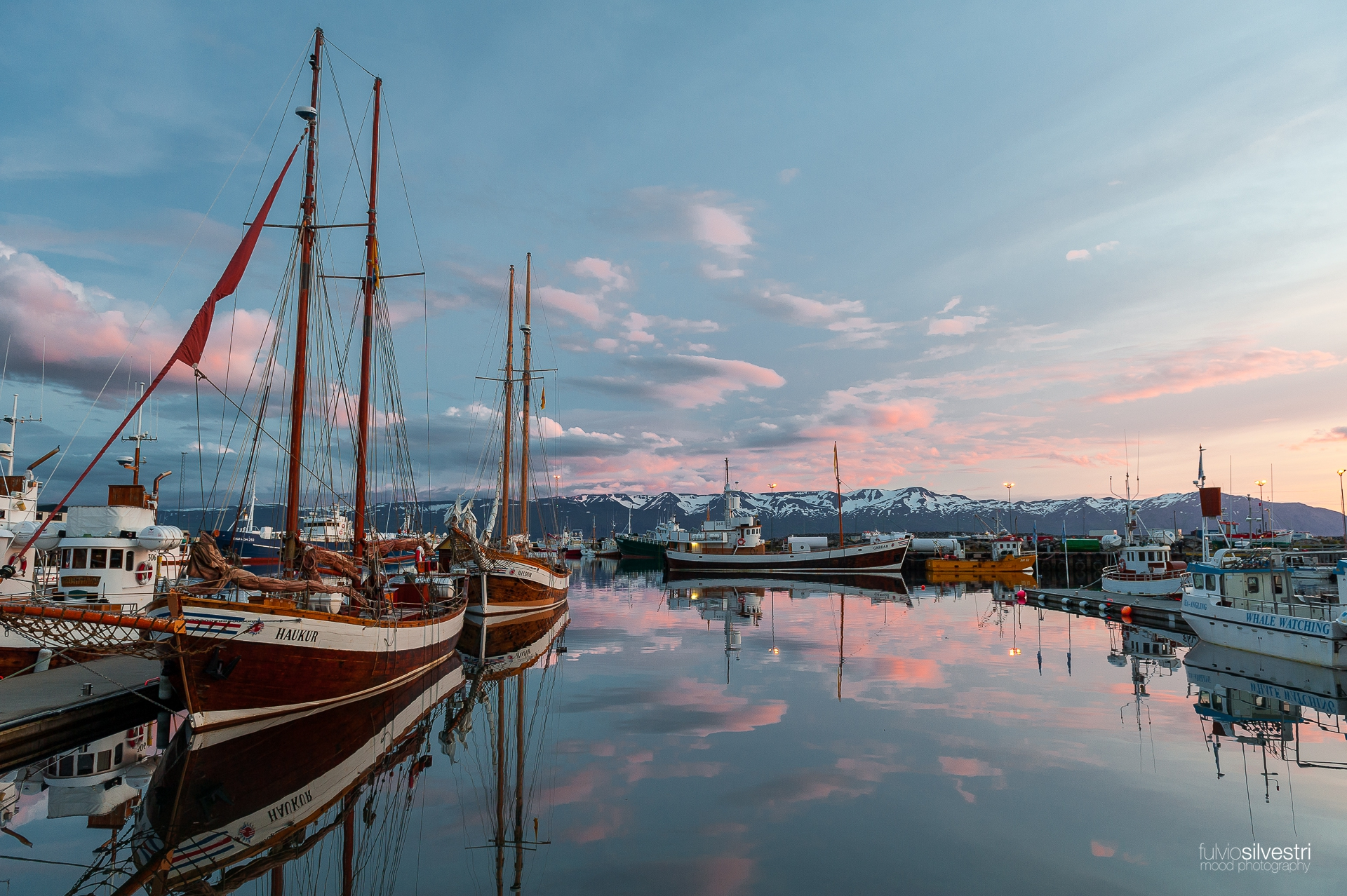 Husavik at sunset